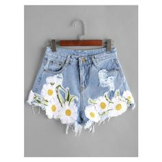 Light Blue Ripped Appliques Raw Hem Denim Shorts (55 AED) ❤ liked on Polyvore featuring shorts, denim shorts, distressed jean shorts, torn shorts, torn jean shorts and short jean shorts