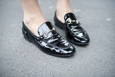 Black patent Gucci loafers