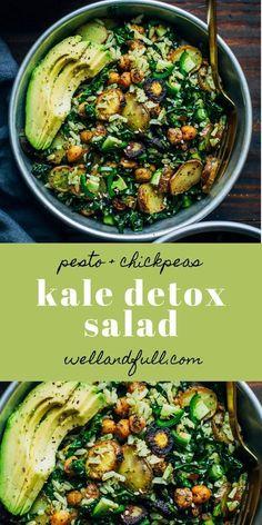 Grünkohl-Detox-Salat # GrünkohlDetoxSalat Kale Detox Salad Simple Detox salad with chickpeas, pesto rice, potatoes and avocado! Detox Recipes, Veggie Recipes, Whole Food Recipes, Vegetarian Recipes, Dinner Recipes, Cooking Recipes, Healthy Recipes, Kale Salad Recipes, Detox Meals