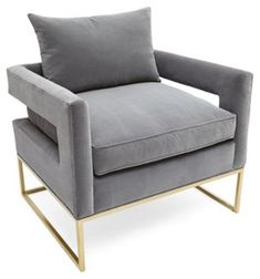 Bevin Velvet Accent Chair, Light Gray - A sleek silhouette and cutout C-shape arms make this chair an eye-catching modern marvel. Its stony-hued velvet upholstery gives it a delightfully sumptuous edge. The frame is made of gold-finished steel. Handcrafted in the USA.