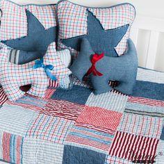 red white blue denim quilt