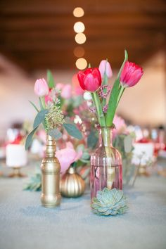 pink wedding flowers http://www.weddingchicks.com/2013/09/10/pink-and-gold-wedding-ideas/