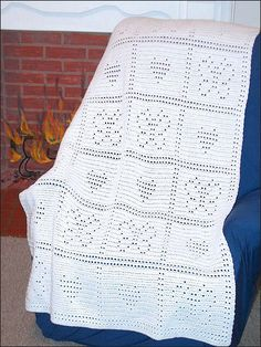 Crochet - Afghan & Throw Patterns - Lace, Filet & Pineapple Patterns - Easy Filet Butterfly & Hearts Afghan