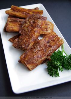 Chinese BBQ Yuba Ribs, a delicious recipe for a meat-free, vegan version of the Cantonese classic dish char siu or cha siu.
