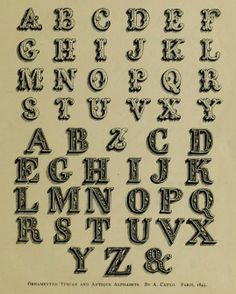 """Alphabet of 1480, from the public domain book, """"The penman's hand-book : for penmen and students, embracing a history of writing ... many complete alphabets ... ; Also, Chapters on teaching penmanship, business letter writing, off-hand flourishing ... etc. (1883)."""""""