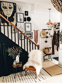 How To Achieve The Hygge Interior Trend In 8 Simple Steps Stairway Decorating Achieve Hygge Interior simple Steps Trend Stair Landing Decor, Staircase Wall Decor, Stair Decor, Stair Walls, Staircase Design, Staircase In Living Room, Small Space Staircase, Wainscoting Stairs, Entryway Stairs