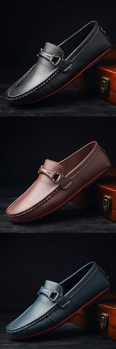 US $27.52 <Click to buy> New Luxury Brand Men Driving Shoes Slip-On Metal Horsebit Casual Men Genuine Leather Moccasins Loafers Boat Shoes