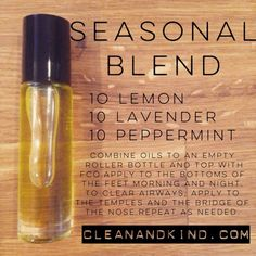 Roller Ball Remedies - with essential oils - Seasonal Blend #lemon #lavender #peppermint