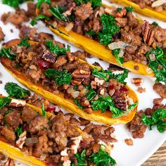 Beyond Beef Stuffed Delicata Squash - Beyond Meat - The Future of Protein™ Healthy Eating Recipes, Raw Food Recipes, Veggie Recipes, Diet Recipes, Cooking Recipes, Vegan Meals, Healthy Food, Beyond Beef Recipes, Delicata Squash Recipe