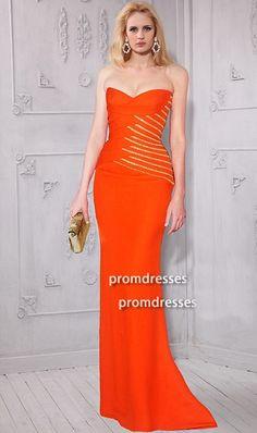 Sheath Strapless Sweetheart Long Orange Satin Beaded Evening Prom Dress 60ba70ef07a1