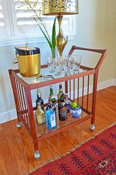 Flawless Mid Century Teak Serving Bar Cart By GregBuzby On Etsy, $625.00