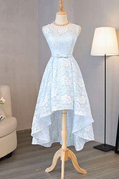 Long Blue Homecoming Dresses #homecomingdresses Sweet Prom/Homecoming Dresses #promdresses Princess Prom Dresses #lacedress