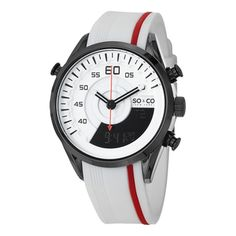 SO&CO New York Men's Monticello Digital Quartz White and Red Watch with Rubber Strap | Overstock.com Shopping - The Best Deals on SO&CO Men's Watches
