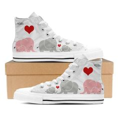 Cute Elephant - Women's High Top Canvas Sneakers (White).