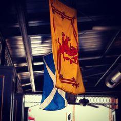 Rampant Lion & the Scottish flag.