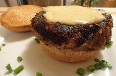"""The """"V"""" Word: Moussaka Burger with Bechamel Sauce and Greek Salad"""