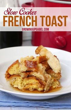 Make slow cooker French toast overnight with this easy recipe using just a loaf of hearty bread, eggs and milk. Breakfast is ready in the Crock Pot when you wake up.