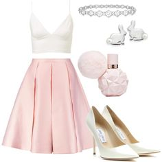 pinkgirlygrande. ♡ by beccaboopastel on Polyvore featuring Emilia Wickstead, Jimmy Choo, Natures Jewelry and Epoque