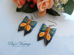Vintage Wood Painted Butterfly Earrings/Enamel Wood Insect Jewelry