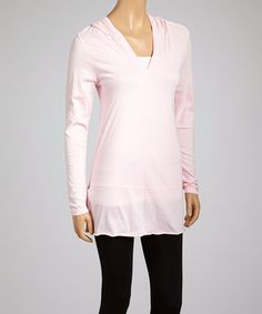 Another great find on #zulily! Baby Pink V-Neck Hooded Tunic - Women by Kavio! #zulilyfinds