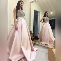 189 USD.Beaded Pink Prom Dress,Halter Prom Gowns,Long Evening Dress,Ball Gowns Prom Dress,Prom Dresses 2017,Long Graduation Party Dress