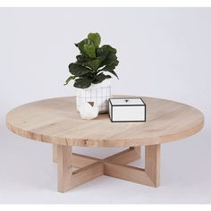 Designer Bondi Round Oak Coffee Table Solid Timber Accent Tables