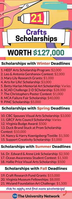 Here is a selection of Crafts Scholarships that are listed on TUN.
