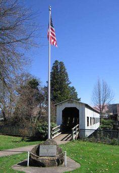 Veterans Memorial/Covered Bridge in Cottage Grove, Oregon