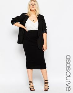 ASOS CURVE Midi Pencil Skirt in Jersey
