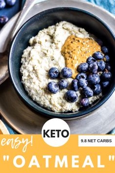 "This keto ""oatmeal"" is an easy breakfast option with unlimited fl Low Carb Meal Plan, Diet Plan Menu, Low Carb Dinner Recipes, Low Carb Desserts, Low Carb Keto, Keto Recipes, Cooking Recipes, Fancy Desserts, Cream Recipes"