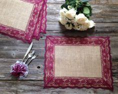 Burlap Placemats with BURGUNDY RED/WINE Lace/Country Wedding/Rustic Country Wedding/Farmhouse Decor/Rustic Country Home/French Country Decor