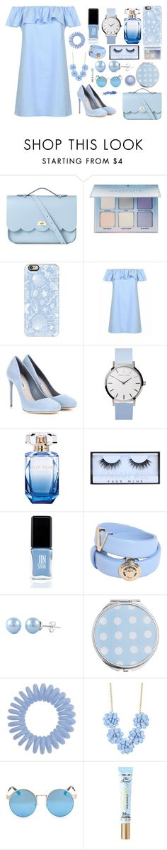 """Sky blue"" by paustukas ❤ liked on Polyvore featuring The Cambridge Satchel Company, Anastasia Beverly Hills, Casetify, Miu Miu, Elie Saab, Huda Beauty, JINsoon, Versace, Miss Selfridge and J.Crew"