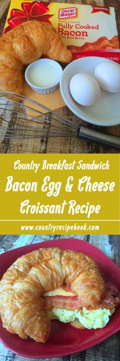 Delicious bacon, egg and cheese croissant country style breakfast sandwich. Super easy and quick to make!