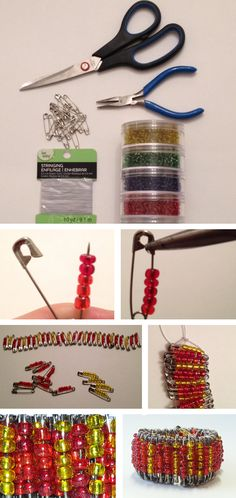 Easy diy safety pin bracelet-- great weekend craft for the kids Safety Pin Art, Safety Pin Crafts, Safety Pins, Kids Safety, Diy Arts And Crafts, Cute Crafts, Crafts For Kids, Diy Crafts, Safety Pin Bracelet