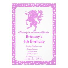 Starry Unicorn Personalized Invitation