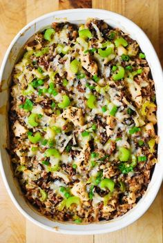 Easy and healthy chicken dinner: Chicken and Wild Rice Casserole made completely from scratch! Chicken Wild Rice Casserole, Chicken And Wild Rice, Casserole Dishes, Casserole Recipes, Bhg Recipes, Easy Chicken Recipes, Cooking Recipes, Healthy Chicken, Healthy Cooking