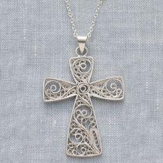 Filigree Vine Cross Necklace