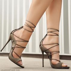 Gorgeous green lace up Heels