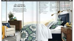 Navy green and white color palette for bedroom