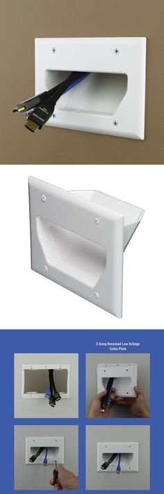 Eagle White Phone Wall Plate with Dual F-81 Connector Jack RJ11 TV Telephone