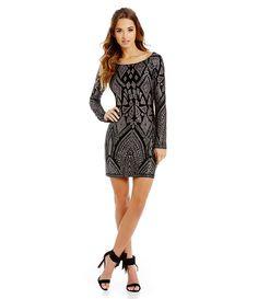 eac2aeeb9867 Jump Long Sleeve Glitter Pattern Sheath Dress