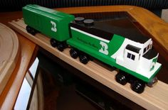 wooden bnsf train - Google Search Ace Boogie, Paper Train, Toy Trains, Kids Bedroom, Bedrooms, Google Search, Toys, Beautiful, Activity Toys