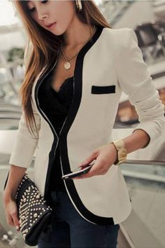 Contrast Color Long Sleeve Plain Blazer