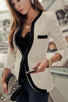 Contrast Color Long Sleeve Plain Blazer