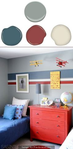 Benjamin Moore Puritan Gray (main wall color) Accent stripes: Behr Distance (dark blue) Behr Red Red Wine (deep red) white (plain ole white) Boys room is fun and playful with a muted blue/gray hue as the main wall color and colorful stripes on the bed wall.: