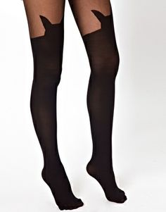 Image 2 - ASOS - Collants avec motif porte-jarretelles et chat
