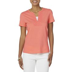 a74dd324c Basic Editions Women s Embellished Short-Sleeve Top