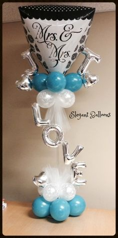 Unusual balloon column design for a wedding or engagement party. Balloon Dress, Love Balloon, Red Balloon, Balloon Bouquet, Balloon Arrangements, Balloon Centerpieces, Balloon Decorations, Wedding Decorations, Centrepieces