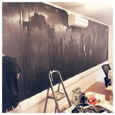Our brand new Chalkboard wall in it's early stages. Painted by our very own #TeamProdo.
