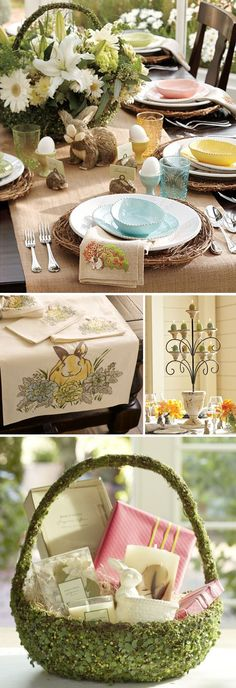 Easter settings #Table is too much, but I LOVE that runner...it's gorgeous!